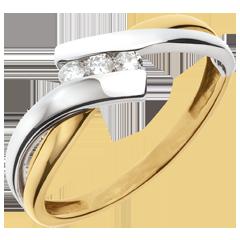 Ring Trilogie Liefdesnest - 18 karaat 2 goudkleuren 18 karaat witgoud en 18 karaat geelgoud - 3 Diamanten