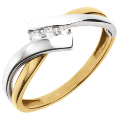 Ring Trilogie Nid Précieux - 2 goudkleuren - 3 diamanten