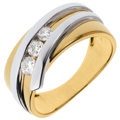Ring Trilogy Precious Nest - Priscilla - yellow gold and white gold - 0.31 carat - 3 diamonds - 18 carats