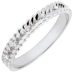 Ring Verzauberter Garten - Diamant Flechtwerk - Weißgold - 9 Karat