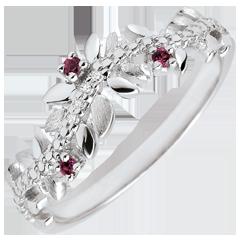 Ring Verzauberter Garten - Königliches Blattwerk - Weißgold, Diamanten und Rhodolite - 18 Karat