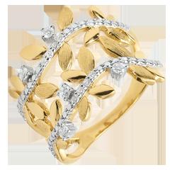 Ring Verzauberter Garten - Zweifach Königliches Blattwerk - Gelbgold und Diamanten - 18 Karat