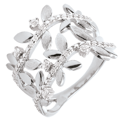 Ring Verzauberter Garten - Zweifach Königliches Blattwerk - Weißgold und Diamanten - 18 Karat