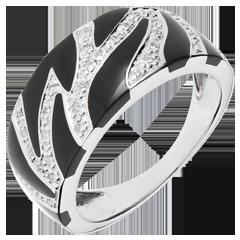 Ring Wildkatze - Schwarzer Lack und Diamanten