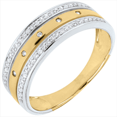 Ring Zauberwelt - Sternkrönchen - Großes Modell - Gelbgold, Weißgold und Diamanten - 18 Karat