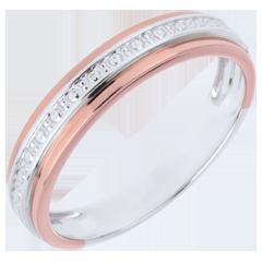 Romantisch Trouwring - roze goud wit goud