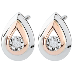 Rose Gold and White Gold Antelope Tear-drop Stud Earrings