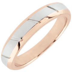 Rose Gold and White Gold Magnus Wedding Band - 18 carats