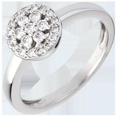 Rosette white gold paved ring - 0.26 carat