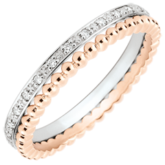Salty Flower Ring - double row - diamonds - 9 carat pink and white gold