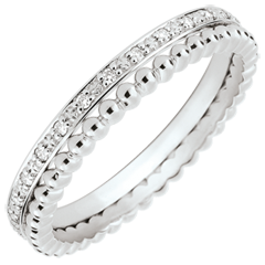 Salty Flower Ring - double row - diamonds - 9 carat white gold