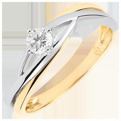 Solitair Nid Précieux - Dova- diamant 0.15 karaat - wit en geel goud 18 karaat