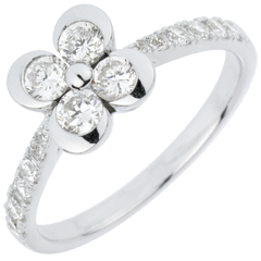 Solitair Ring Freshness - Clover of the Lovers variation - 4 diamonds