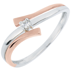 Solitair Ring Parfum Dageraad Nid Précieux - Licht variatie - 0.032 karaat diamant - 18 karaat