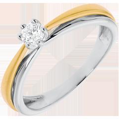 Solitaire Arceau - diamant 0.19 carat - or blanc et or jaune 18 carats