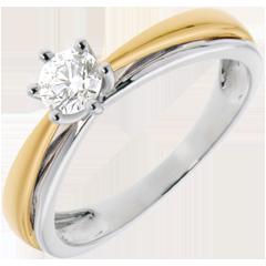 Solitaire Arceau - diamant 0.34 carats - or blanc et or jaune 18 carats