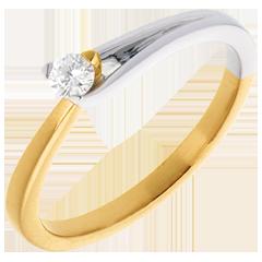 Solitaire Broche - diamant 0.11 carat - or blanc et or jaune 18 carats