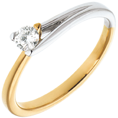 Solitaire Broche - or blanc et or jaune 18 carats