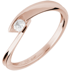 Solitaire calanque or rose 18 carats - diamant 0.11 carat