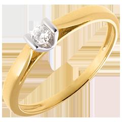 Solitaire caldera or jaune-or blanc - 0.08 carat
