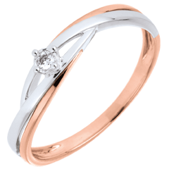 Solitaire Cuib Preţios - Dova - aur alb şi aur roz de 9K