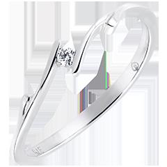 Solitaire Cuib Preţios - Rămurică - aur alb 9K şi diamante