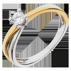 Solitaire Duetino - diamant 0.17 carat - or blanc et or jaune 18 carats