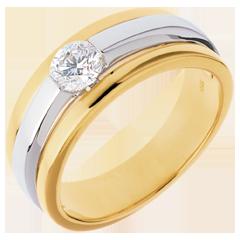 Solitaire Eclipse - 18 karaat geelgoud en witgoud - 0.42 karaat diamant