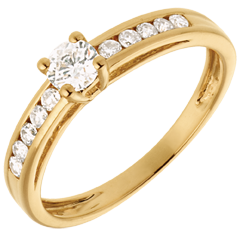 Solitaire Embellie or jaune - diamant 0.22 carat