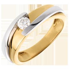 Solitaire Liefdesnest - Tweepolig - 18 karaat witgoud geelgoud (Zeer Groot Model) - 0.23 karaat - 18 karaat