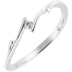 Solitaire Liefdesnest - Twijgje - 18 karaat witgoud met Diamant