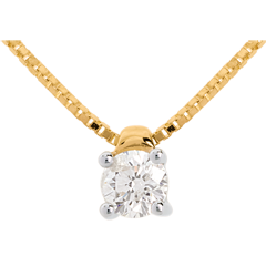 Solitaire necklace yellow gold - 0.26 carat