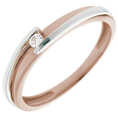 Solitaire Nid Précieux - Bipolaire - diamant 0.04 carat - or blanc et or rose 18 carats