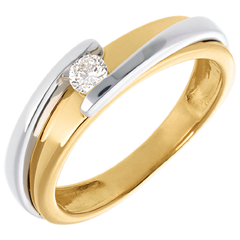 Solitaire Nid Précieux - Bipolaire - or jaune et or blanc - 18 carats