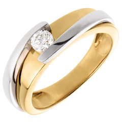 Solitaire Nid Précieux - Tweepolig - Wit Goud Geel Goud (Zeer Groot Model) - 0.23 karaat - 18 karaat