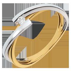 Solitaire Pluton - diamant 0.04 carat - or blanc et or jaune 18 carats