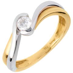 Solitaire Precious Nest - Acquarius- yellow and white gold - 0.21 carat - 18 carats