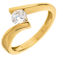 Solitaire Precious Nest - Apostrophe - very big size - yellow gold - 0.52 carat - 18 carats