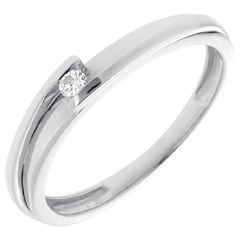 Solitaire Precious Nest - Contemporary - white gold - 0.04 carat - 18 carats