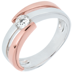 Solitaire Precious Nest - Inch'Allah - pink gold and white gold - 0.25 carat - Gold 9 karat