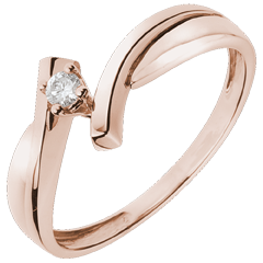 Solitaire Precious Nest - Jupiter - pink gold - 0.05 carat - 18 carats