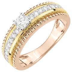 Solitaire Ring - Fleur de Sel - twee ringen - 18 karaat 3 goudkleuren - 0,18 karaat