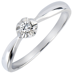 Solitaire Ring Freshness - Golden Blossom - white gold 9 carats and diamond