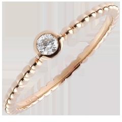 Solitaire Ring Gezouten Bloem - een ring - roze goud - 0,08 karaat