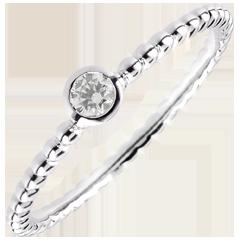 Solitaire Ring Gezouten Bloem - een ring - wit goud - 0,08 karaat - 9 karaat