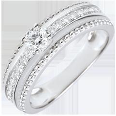 Solitaire Ring - Gezouten Bloem - twee ringen - 0,18 karaat - 18 karaat