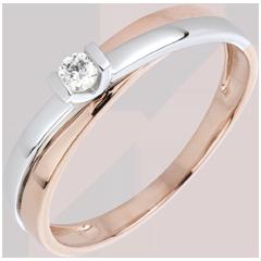 Solitaire Ring Gloed - 0.07 karaat Diamant - 18 karaat witgoud en rozégoud