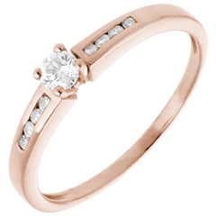 Solitaire Ring Octave - Pink gold - 0.27 carat - 9 diamonds