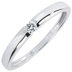 Solitaire ring Oorsprong - One - wit goud 9 karaat en diamanten