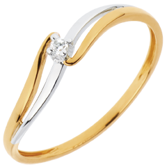 Solitaire Ring Precious Nest - Elly - white gold and yellow gold - 18 carats
